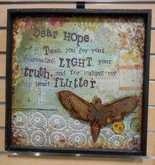 "Kelly Rae Roberts 16"" Sq. Wood + Tin 3D Wall Art - Dear Hope **"