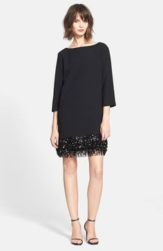 Free shipping and returns on kate spade new york sequin fringe minidress at Nordstrom.com. Sequin-strung fringe sways from the hem of a bateau-neck minidress, transforming the modern three-quarter-sleeve shift into a roaring '20s statement.