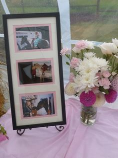 cowgirl party decorations. cowgirl bridal shower. I placed pictures on the tables of the bride at all different ages on her horse.