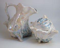 Royal Bayreuth Sugar and Creamer Sea Shell Shape in Blues