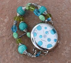 Funky Turquoise and Green Watch Band