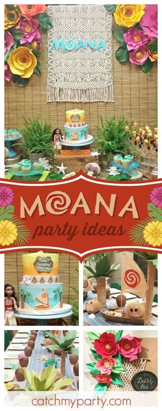 Don't miss this stunning Moana birthday party! The birthday cake is amazing!! See more party ideas and share yours at CatchMyParty.com #partyideas #moana #girlbirthday #tropical