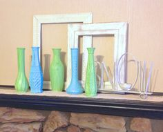 Apple Green & Aqua Up-Cycled Vases / Set of 5 Glass Vases on Etsy, $34.00