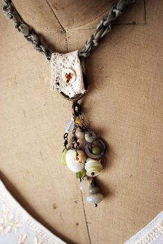 'Morning Rain' necklace by Rebecca Sower. Rebecca's collage/assemblage creations are wonderful - be they jewelry or fabric.