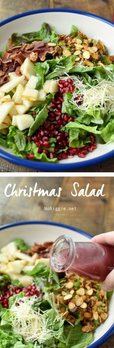 Salad Christmas Salad filled with delicious winter fruit and the classic colors of Christmas Christmas Salad Recipes, Holiday Recipes, Dinner Recipes, Clean Eating, Healthy Eating, Cooking Recipes, Healthy Recipes, Soup And Salad, Brunch