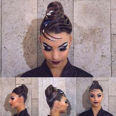Ballroom hair & make up Latin Hairstyles, Braided Hairstyles, Wedding Hairstyles, Updo Hairstyle, Dance Competition Hair, Ballroom Dance Hair, Dance Makeup, Bleached Hair, Smooth Hair