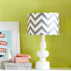 DIY: How to cover a lamp shade with your favorite fabric--do this to match homemade curtains