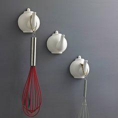 Fun idea: Ceramic Tea Pot Spout hooks. For purchase too.