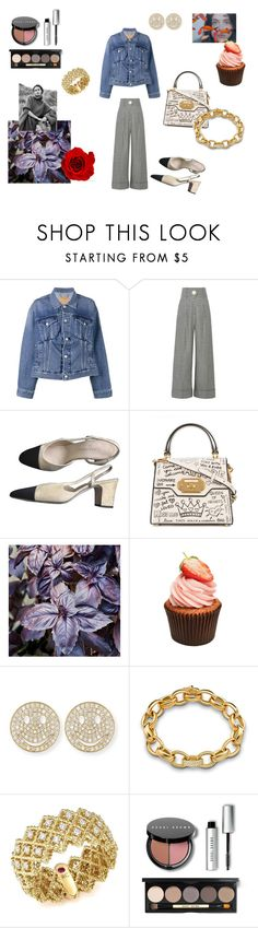 """Denim jacket"" by maria-chamourlidou ❤ liked on Polyvore featuring Balenciaga, Petar Petrov, Chanel, Dolce&Gabbana, Sydney Evan, Monica Rich Kosann, Roberto Coin and Bobbi Brown Cosmetics"