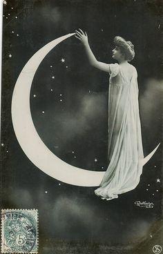 Reutlinger France Lady in Paper Moon Photo Postcard CA 1910''S | eBay