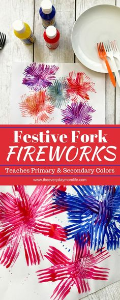 Festive Fork Fireworks Craft Teaches Primary and Secondary Color combos. Great for teaching kids colors and color combinations or just a fun kid activity for toddlers and preschoolers to celebrate the Fourth of July holiday. Bonfire Crafts For Kids, Bonfire Night Crafts, Fireworks Craft For Kids, Fireworks Art, Easy Crafts For Kids, Toddler Crafts, Preschool Crafts, Projects For Kids, Art For Kids