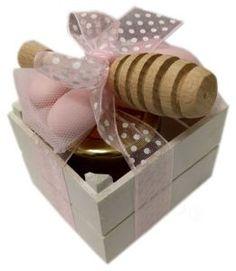 Cassetta in legno confezionata rosa con miele |Bomboniere Gastronomiche