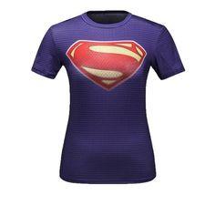Ladies DC Comics Marvel Superman Batman/ Wonder Women's Fitness T Shirt Girls Bodybuilding Compression Tights Tees Tops 3d T Shirts, Gym Shirts, Casual T Shirts, Shirts For Girls, Compression T Shirt, Compression Clothing, Batman Shirt, Shopping, Woman Shirt