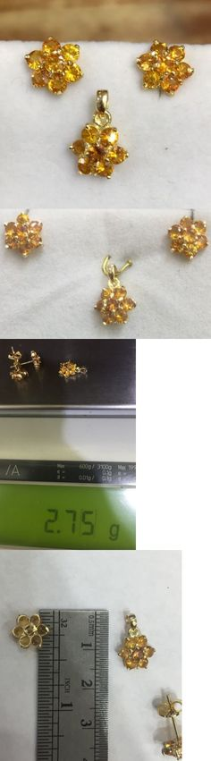 Diamonds and Gemstones 164326: 14K Solid Gold Set Flowers Earrings And Pendant 3.40Ct Natural Orange Sapphire2.75 -> BUY IT NOW ONLY: $139 on eBay!