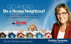 advertisement for pint River Realty, Nosey Neighbors, Sales Representative, Go Ahead, The Neighbourhood, Advertising, Branding, Brand Management, Brand Identity