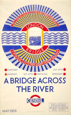 ¤ A bridge across the river; London Bridge, by Frederick Charles Herrick, 1923 Poster by Frederick Charles Herrick