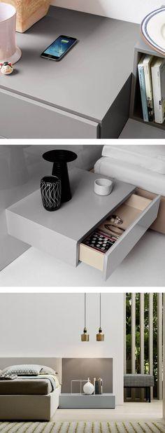 Die moderne Nachttisch Easy 1 von Novamobili kann mit kabelloser Qi Ladestation in der Abdeckplatte bestellt werden. Das Smartphone wird durch auflegen auf den Nachttisch aufgeladen.   #Nachttisch #Qi #Ladestation #Schlafzimmer #Gästezimmer #bedroom #minimalistisch #skandinavisch #modern #Design #Moebel #Wohntrends #wohntrend #Wohnstil #wohnideen #home #einrichten #wohnen #Inneneinrichtung #interiordesign #interiordecoration #Inspiration #Raumgestaltung #Livarea #Novamobili Cozy Bedroom, Bedroom Inspo, Bedroom Decor, Casa Milano, Wardrobe Room, Cupboard Shelves, Lit Simple, Modern Kitchen Design, Built Ins