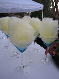 Banana fluff martini. Gourmet cotton candy available from Fluffpop! www.fluffpop.com
