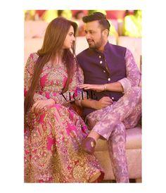 Atif Aslam with his wife at Recent Wedding - Style. Pakistani Wedding Outfits, Pakistani Dresses, Indian Outfits, Bridal Outfits, Wedding Couple Poses Photography, Pakistan Wedding, Bollywood Couples, Mehndi Dress, Royal Clothing