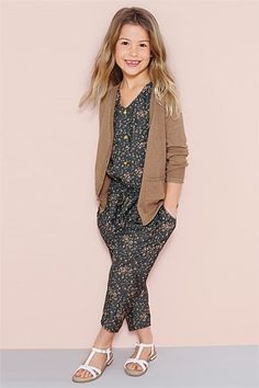 Girls Clothing Online - 3 to 16 years - Next Grey Printed Jumpsuit (3-16yrs)