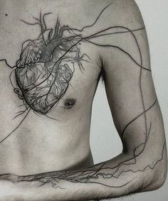 Wow Heart and Veins Creative Tattoo Design for Men