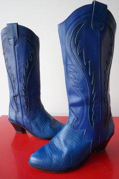 Bottes Boots SANTIags Tiags cuir leather BLeu T 37 Cow Boy western tres bon etat