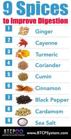 Improve Digestion and Assimilation of Food and Nutrients by adding these 9 Spices to your foods.