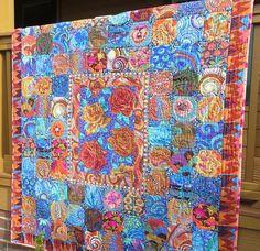 Snowball Garden Medley Quilt-Made with Kaffe Fassett Fabrics by NonnaZac on Etsy Snowball Quilts, Medallion Quilt, Flower Quilts, Beautiful Birds, Beautiful Places, Barn Quilts, Quilt Making, Textile Design, Fabric Patterns