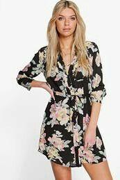 Vestido Estilo Camisa Floral Savannah