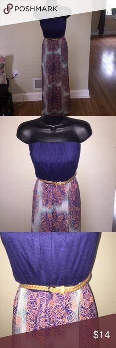 Maxi dress with removable belt! Cute maxi dress with removable belt! Worn twice!  It's for every summer event! Dresses Maxi