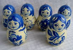 Blue Matryoshka Dolls. My daughter has an exquisite set of blue ones.
