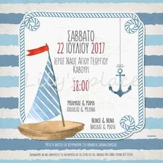 Image result for προσκλητηριο βαπτισης ναυτικο Place Cards, Place Card Holders, Invitations, Personalized Items, Save The Date Invitations, Shower Invitation, Invitation
