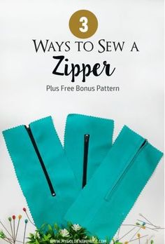 How to Sew a Zipper. Learn 3 ways of attaching zippers and get a free sewing pattern at the end of this post.