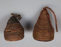 Bedouin Containers Pair Basket Technique ETHNOGRAPHIC Rare