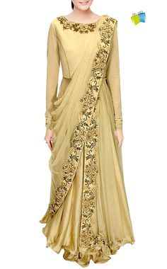 Saree Gowns : Fusion Of Indian And Western Wear (Item code : SUUDS29504) https://goo.gl/NrGEPH #indianbazaaronline #gownsaree #onepiecesareegown #gownsareeonline #readytowearsareegown #sareegowndress #SareeGown