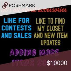 Like to find, specials and New arrival update My closet is dedicated to accessories. 💍👜👒👠👓👛🌂.                           Like this listing to find my closet, updates when new items are added, contest and sales.  More to come 😃😃😃 I want to make this a fun place to shop with great deals.  Bundle to save in shipping $$$ Bundle 3 or more for 10% off ❤  I will be changing this for short periods for promotions 😃 ❤ make sure to like the page for specials ❤ Jewelry
