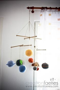 Solar System Mobile for Nursery**she has this pinned on her page Science Projects, Science Experiments, School Projects, Boy Room, Kids Room, Solar System Mobile, Solar System Projects, Crafts For Kids, Diy Crafts