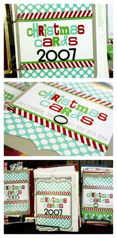 Christmas card books - save all your old Christmas cards to look back on every year.~~Christmas version of the other one in have pinned.  I live this.  What a great idea for ur fav cards, the photo cards and letters u get, etc. gonna get the last few years together and so this.