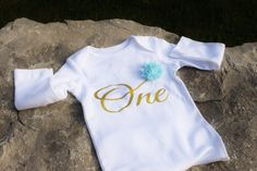 Non shedding glitter Birthday Girl ONESIE gold glitter word one and sewn mint flower-Glitter one Bodysuit One tee Long sleeve glitter (25.00 CAD) by TulleVogue