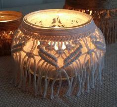Macramé-Lantern vase candle holders, home decor, wedding, white Macrame Design, Macrame Art, Macrame Knots, Macrame Supplies, Macrame Projects, Candle Jars, Candle Holders, Macrame Tutorial, Vase