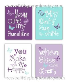Butteryfly Art for Girls Colorful Kids Room Decor You are my Sunshine art by Little Pergola Art for Kids, $55.00