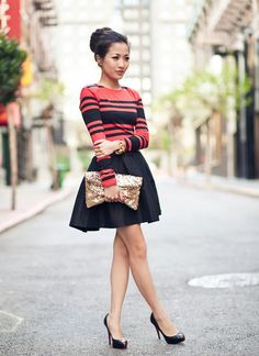 """Wendy Nguyen from Wendy's Lookbook in """"Remix: Crimson dress & Gold glitter"""" features her in a French Connection dress (worn as a shirt), ASOS skirt, bag from Melissa on Etsy, and Christian Louboutin shoes."""