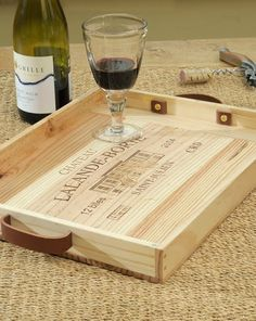 Wine box tray. cute way to re-purpose.
