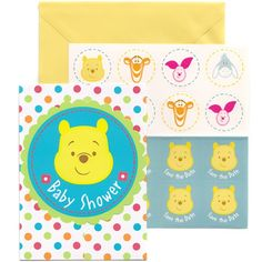 Invite all your baby shower guests with the charming artwork featured these colorful Pooh Little Hunny Invitations w/Seals!  The gatefold style invitation card features colorful polka dots surrounding a turquoise circle featuring an adorable image of Winnie The Pooh.  The title �Baby Shower� appears on the front of each card cover.  Cards measures 5.5 inches by 4 inches and are sold 8 per package.  Yellow envelopes with seals featuring Eeyore are included.