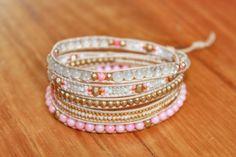 """Bracelet wrap d'Enjoy Wrap modèle """"Princesse"""" en pierres semi prècieuses"""