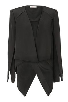 A WAITING GAME - soft tailored layered armadillo style jacket. sleeve wraps around to sleeve seam with angular pointed hem.