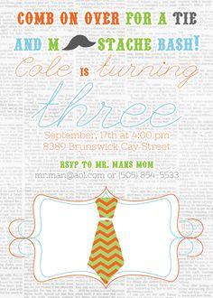 Tie and Mustache Party Invites, Mustache Birthday Invites, Mr. Man Party Invites