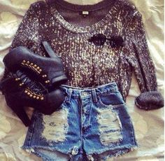 glitter sweater, high waist denim cutoffs, black ankle booties