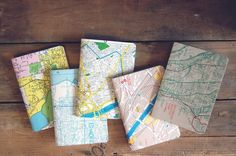 Map-covered notebooks//gift idea