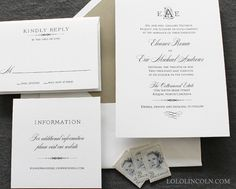 Deco Monogram Wedding Invitation SAMPLE by LoloLincoln on Etsy